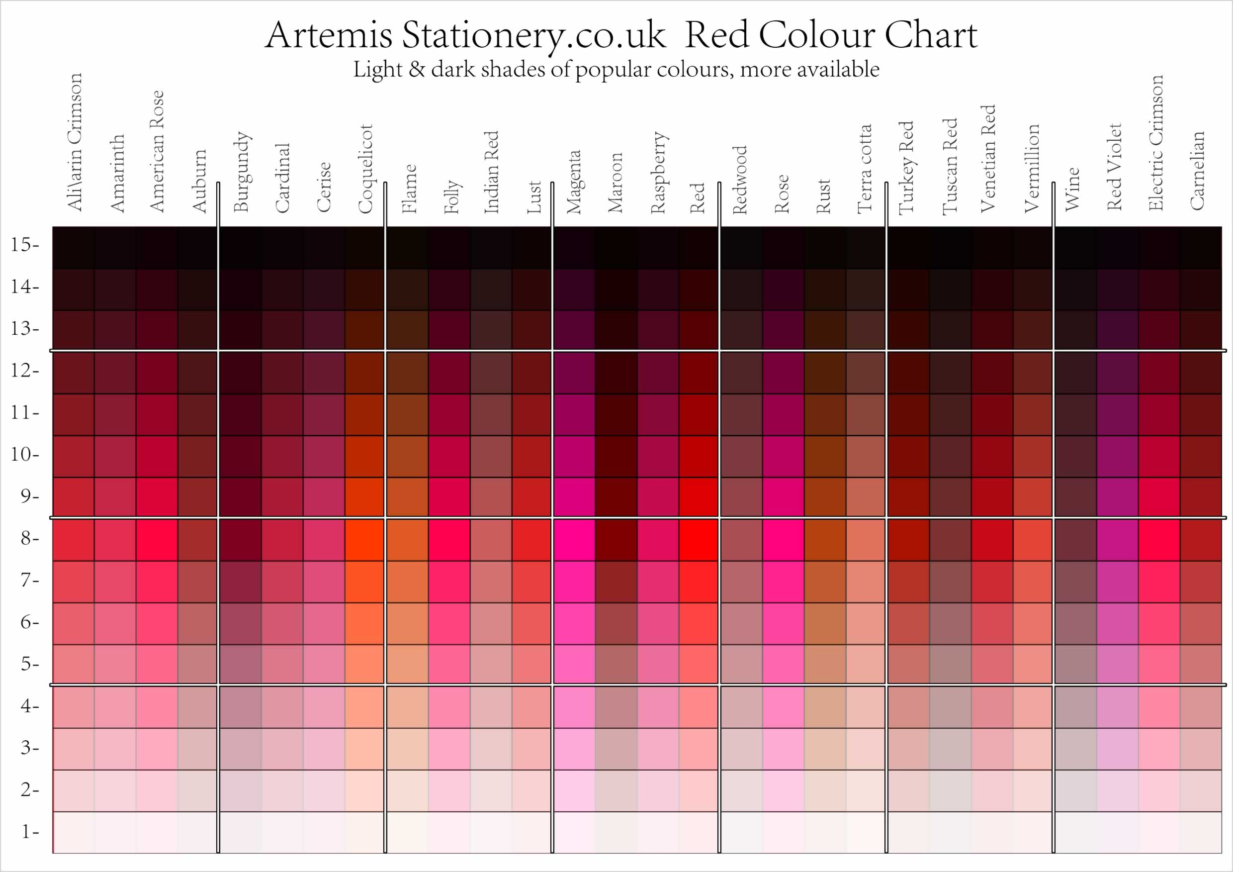 red colour chart