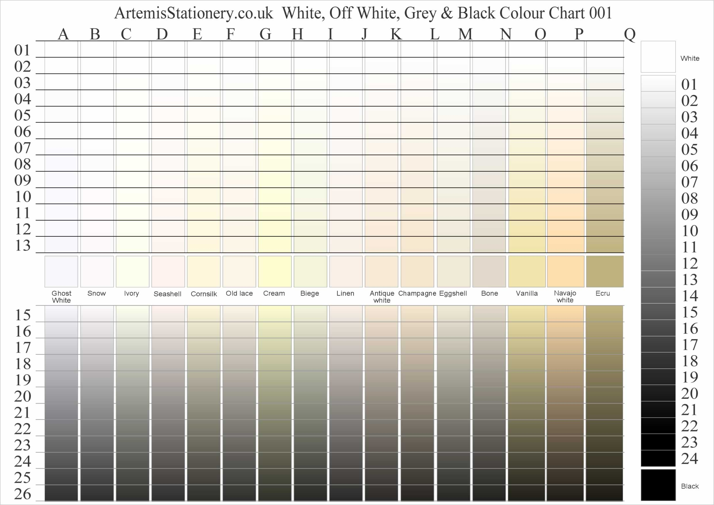 white and off whites colour chart