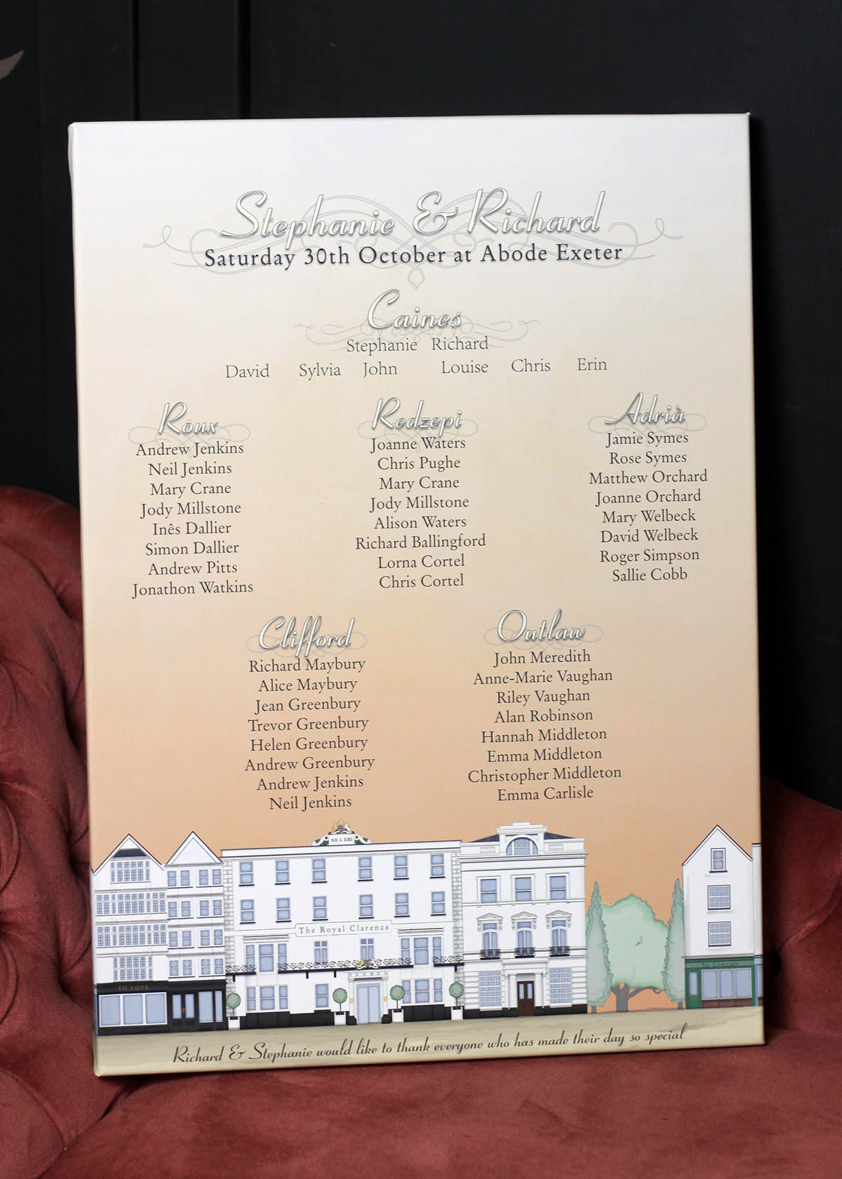 Illustration of the Royal Clarence Hotel in Exeter table plan