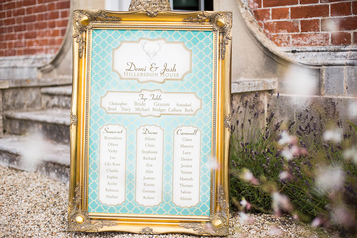 Table plan in frame in gold and blue with illustrated stag head