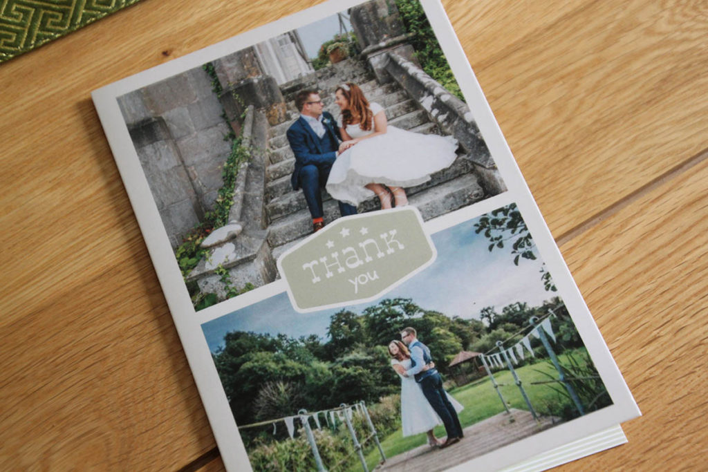 Jo and Dan thank you card cover from Kitley House