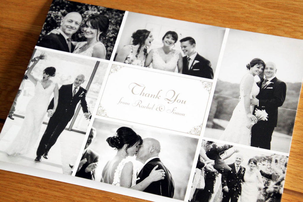 Rachel and Simon thank you card cover from Salcombe Harbour Hotel