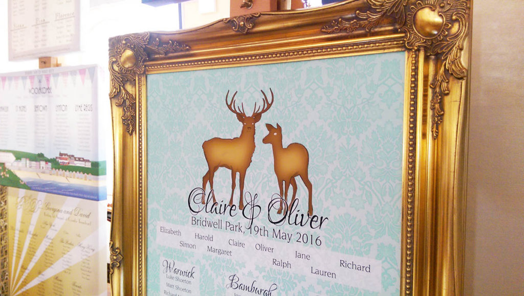Framed table plan with deer design