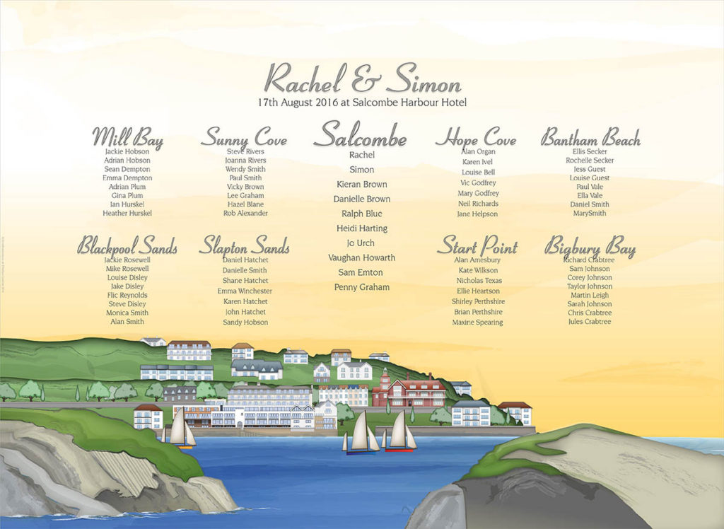 Rachel and Simon table plan design from Salcombe Harbour Hotel