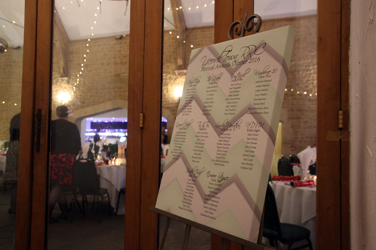 Canvas chevron table plan for sports club awards meal