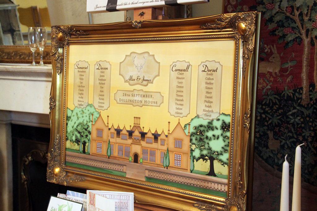 Framed table plan showing illustration of Dillington House
