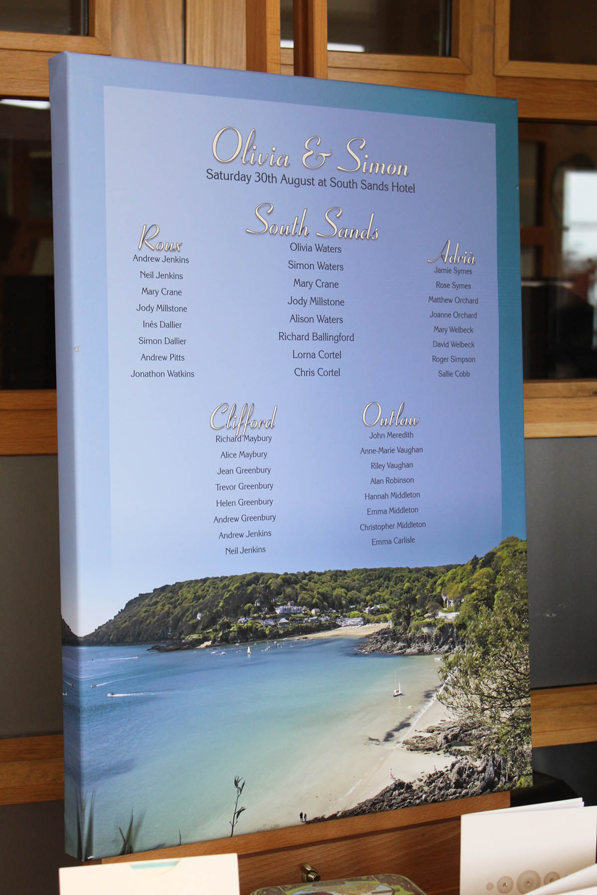 Stretched canvas table plan with photo of South Sands