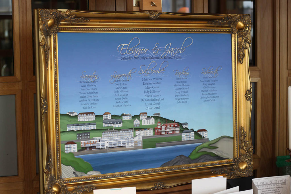 Framed table plan with illustration of Salcombe Harbour